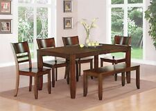 6-PC SET DINETTE KITCHEN DINING TABLE w/ 4 WOOD SEAT CHAIRS & A BENCH, ESPRESSO