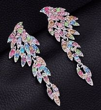 NEW - Feather Wing Dangle Statement Earrings - Silver Plated & Austrian Crystals