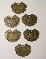 6- 29x22mm Fancy Oval Scalloped Metal Chinese Charm Embellishments
