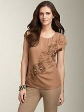 NEW $129 TALBOTS Brown,Tan Poly Crepe Floral Beaded Top,Blouse Sz PS ( 6P,8P )