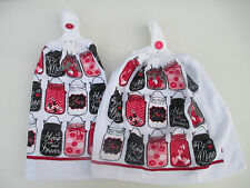 2 Hanging Kitchen Dish Towels With Crochet Tops  Valentine Jars Love Always