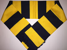 YELLOW - NAVY BAR RUGBY Scarf NEW from Luxury Acrylic Yarns