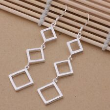 Ladies 925 Sterling Silver Square Drop Dangle Retro Fashion Casual Earrings Gift