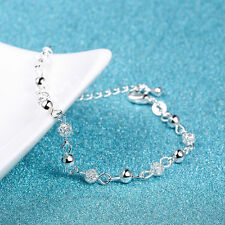 New Women 925 Plated Silver Crystal Chain Bangle Cuff Charm Bracelet Jewelry