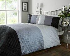 DOUBLE BED QUILTED DUVET COVER SET MONROE BLACK SILVER GREY LUXURY SOFT TOUCH