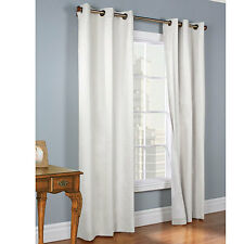THERMAL BLACKOUT WHITE 2 PANEL SOLID GROMMET FOAM LINED WINDOW CURTAIN DRAPE M2