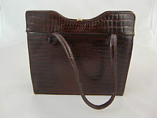 Vintage 50/60's Interwainer Classic Womens Brown Crocodile Leather Handbag