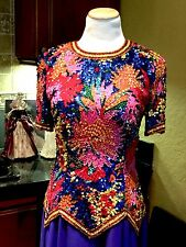 VINTAGE OLEG CASSINI BLACK TIE MULTICOLOR SEQUIN BEAD SILK COCKTAIL DRESS SZ 6
