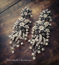 Stunning white crystal leaf flower cluster statement fashion chandelier earrings
