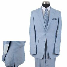Men's 2 button linen suit with pants white, black, navy, blue L613 Fortino Landi
