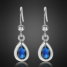 Fashion Jewellery Lady Pear Cut Blue Sapphire White Gold Plated Dangle Earrings