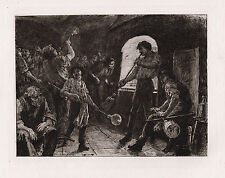 "BOGO Outstanding 1800s JACOMB HOOD ORIGINAL Etching ""Glass Blowing"" SIGNED COA"