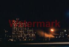 Industrial Night Scene Chicago Car Light Streaks 1960 Kodak 35mm Slide