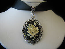 WHITE VICTORIAN ROSE CAMEO CHOKER NECKLACE HANDCRAFTED ARTISAN JEWELRY USA