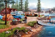 "Ken Zylla Weekend Retreat Lake Campground Art Print  12"" x 8"""