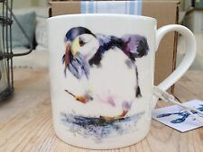 Hand Decorated Original Puffin Sea Bird Art bone china mug By Artist N J Rowles