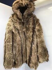 Men's Hooded Fur Coat Charles Klein Size L Coyote Creams/Browns/Tans