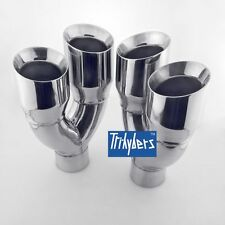 """Quad 4"""" Outlet / Single 3"""" Inlet exhaust tips for Challenger Dodge 304 stainless"""
