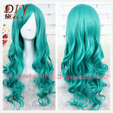 65cm Women Girls Turquoise Long Curly Wavy Hair Wig Cosplay Party Full Wigs