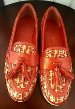 TORY BURCH - OXFORD with Tassels - Woven leather in Red and Ivory - 6B