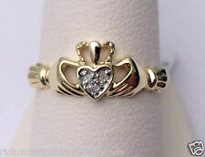 10k Yellow Gold Diamond Claddagh Irish Ring Wedding Fashion Band