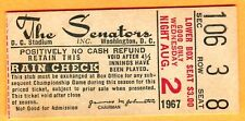 VINTAGE 1967 TICKET STUB-8/2/67 WASH SENATORS/MINN TWINS