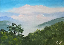 Original ACEO mountain landscape oil painting MORNING CLOUDS
