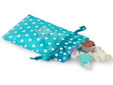 "4"" X 6"" Vivid Turquoise Organza Bags with White Polka Dots (10)"