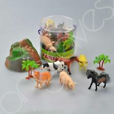Tub of 6 Farm Animals & Accessories Set Play Action Figures Dog Cow Pig Horse