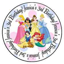 24 DISNEY PRINCESS PERSONALIZED BIRTHDAY PARTY STICKERS FAVORS LABELS ROUND