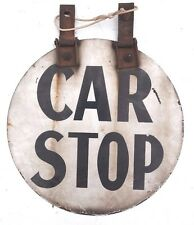 Vintage 1930's Heavy Porcelain  Round CAR STOP Railroad / Trolly  Sign (2 OF 2)