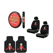 7PC Betty Boop Red Dress SkyLine Seat Covers Steering Wheel Cover Floor Mats Set