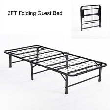 FOLDING BED 3FT SINGLE METAL GUEST BED FRAME IN BLACK CAMPING BEDSTEAD