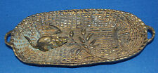 An antique Victorian or Edwardian bronze mouse trinket tray, a mouse on leaf