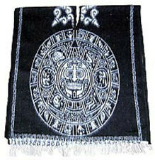 Adult Black/White Brushed Woven Mexican Aztec Calendar PONCHO pancho costume