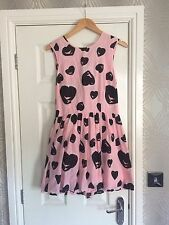 Ladies Size 12 Pink With Black Hearts Dress And Open Back