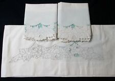 Antique Sheet & Pillow Case Set Embroidered & Cutwork Florals Unused Excellent