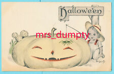 HALLOWEEN United Art BOY W/ PUMPKIN & SPIDER~A/S Dening Hand-Painted POSTCARD