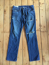 ABERCROMBIE & FITCH MENS DARK BLUE DISTRESSED STRAIGHT LEG DENIM JEANS W30 L30