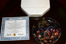 "Royal Doulton Porcelain Plate 8"" SUMMONING OF THE DRAGON  with Swarovski Crystal"