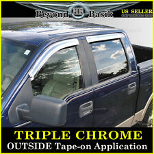 2004-2008 Ford F-150 4Dr Super Crew Cab 4PC Chrome Vent Door Visors Rain Guards