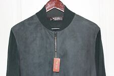 Loro Piana Bomber Zip Cashmere Suede Dark Forest Green Light Jacket 52 / L NWT!