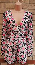 RIBBON WHITE BLACK PINK DAISY FLORAL V NECK LONG SLEEVE CULOTTE PLAYSUIT 10 S