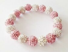 PINK & WHITE STRETCHY  SHAMBALLA BRACELET-18 x10mm DISCO BEADS -CZECH CRYSTAL-UK