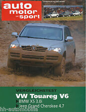 Sonderdruck ams 26 02 Test 2002 VW Touareg BMW X5 3.0i Jeep Grand Cherokee 4.7