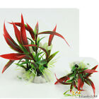 Red Plastic Water Plant Bamboo Leaf Grass Ornament Aquarium Fish Tank Decor ahy