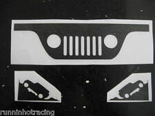 JEEP WRANGLER Windshield L R Corner and upper Grill Decals YJ JK TJ (3 Stickers)
