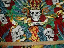 Cotton Fabric Alexander Henry Royal Carpe Noctem Seize the Night Skulls Bright