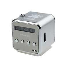 MP3 Player Amplifier Micro SD TF Card USB Disk Speaker With FM Radio Silver New