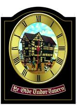 OLD TUDOR TAVERN Pub Sign WALL CLOCK for your Home Bar, Man Cave or Pub Shed